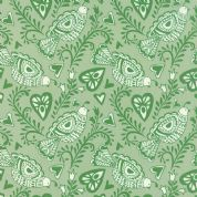 Moda North Woods by Kate Spain - 4802 - Scandinavian Style Partridges on Pale Green - 27241 17 - Cotton Fabric